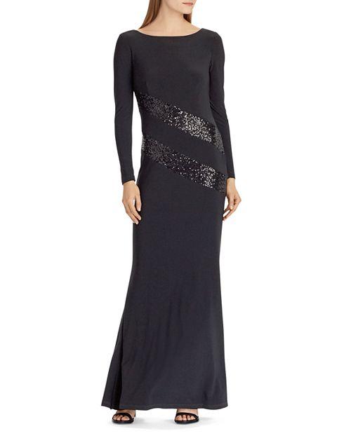 Ralph Lauren Sequin-Trim Jersey Gown | Bloomingdale\'s
