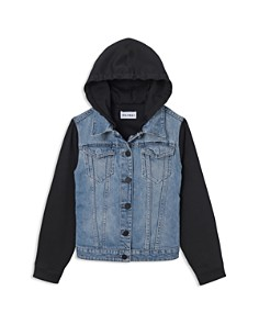 DL1961 Girls' Denim Jacket with Knit Sleeves & Hood - Little Kid - Bloomingdale's_0