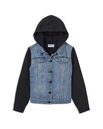 DL1961 - Girls' Denim Jacket with Knit Sleeves & Hood - Little Kid