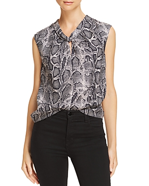 Rebecca Taylor Knot-Front Snake-Print Silk Top
