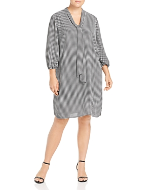 Adrianna Papell Plus Printed Tie-Neck Shift Dress
