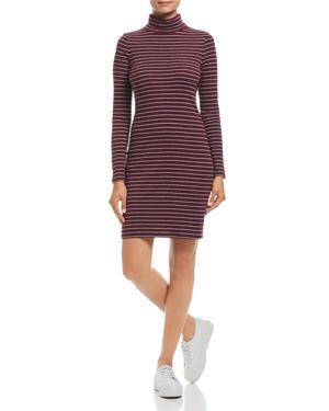 Three Dots Autumn Stripe Turtleneck Dress