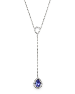 Bloomingdale's Tanzanite & Diamond Y Necklace in 14K White Gold, 18 - 100% Exclusive