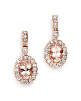 Bloomingdale's - Morganite & Diamond Halo Drop Earrings in 14K Rose Gold - 100% Exclusive