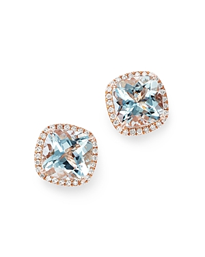 Bloomingdale's Aquamarine & Diamond Square Stud Earrings in 14K Rose Gold - 100% Exclusive