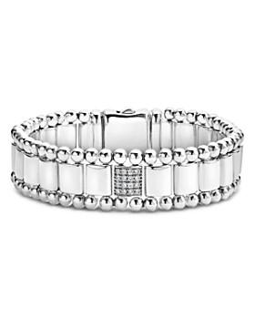 LAGOS - Sterling Silver Caviar Spark Pavé Diamond Station Link Bracelet