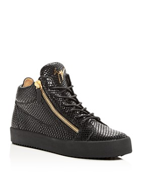 Giuseppe Zanotti - Men's Snake-Embossed Leather Mid Top Sneakers