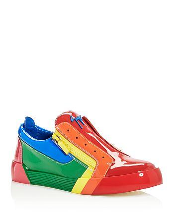 Giuseppe Zanotti - Men's Rainbow Leather & Patent Leather Sneakers