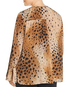 Lafayette 148 New York Plus - Izzie Silk Cheetah-Print Blouse