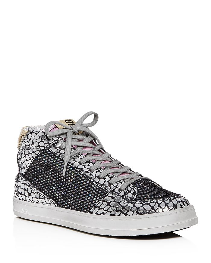 P448 - Women's Queens Glitter Mixed Media Mid-Top Sneakers