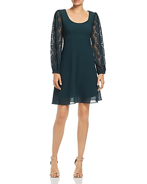 nanette Nanette Lepore Pleated-Lace Sleeve Dress