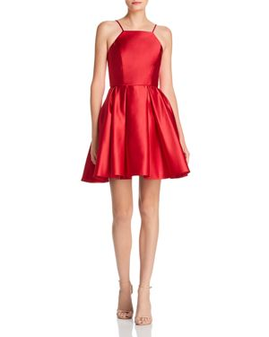 AVERY G Satin Fit-And-Flare Dress in Red