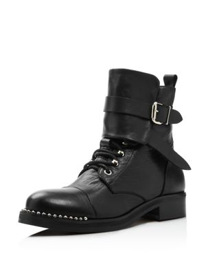 CHARLES DAVID Women'S Scorch Studded Leather Boots in Black Leather