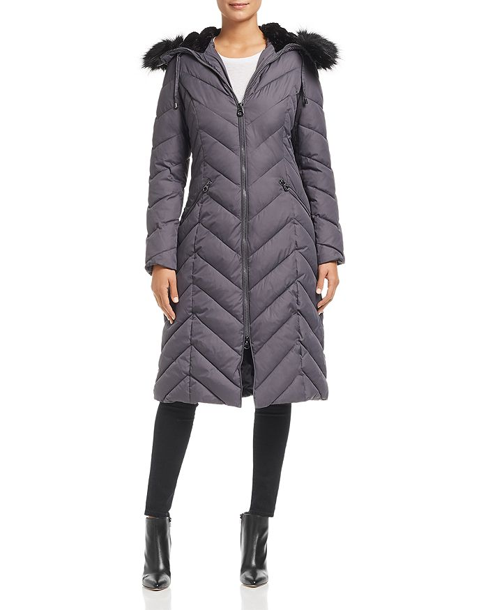 Laundry By Shelli Segal LAUNDRY BY SHELLI SEGAL FAUX FUR TRIM MAXI PUFFER COAT
