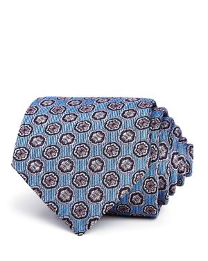 TURNBULL & ASSER Floret-Medallion Silk Classic Tie in Blue Pin