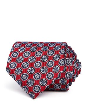 TURNBULL & ASSER Floret-Medallion Silk Classic Tie in Red