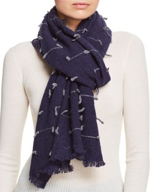 V FRAAS V Fraas Stitch Detail Wool Scarf in Navy/Gray