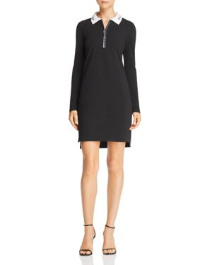 Cotton Pique Polo Short Zip-Front Shirtdress, Black