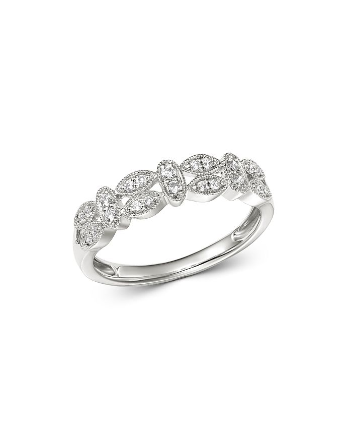 Bloomingdale's - Diamond Milgrain Band in 14K White Gold, 0.15 ct. t.w. - 100% Exclusive