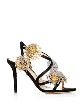 Charlotte Olympia - Women's Embellished Satin Slingback High-Heel Sandals