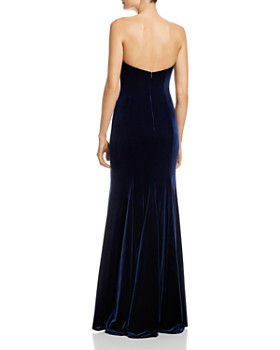 AQUA - Asymmetric Strapless Velvet Gown - 100% Exclusive