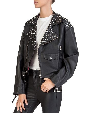 93521d78e86 The Kooples Studded Leather Moto Jacket | Bloomingdale's