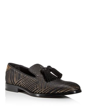 Jimmy Choo Men's Foxley Jacquard Smoking Slippers