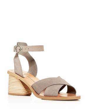 Women'S Roman Nubuck Leather Mid-Heel Sandals in Grey Nubuck