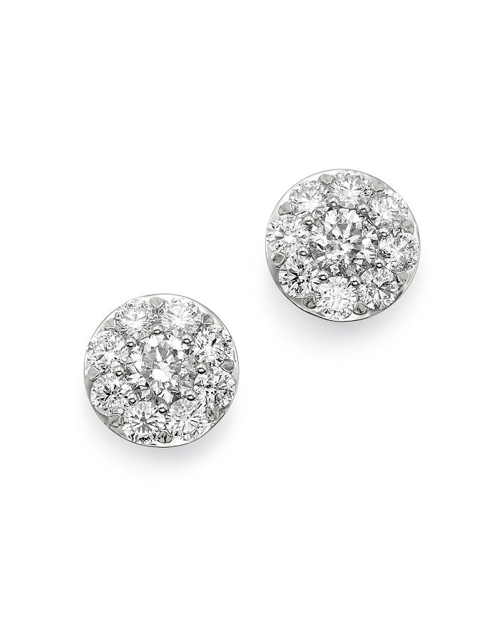 Bloomingdale's - Diamond Circle Large Stud Earrings in 14K White Gold, 2.0 ct. t.w. - 100% Exclusive