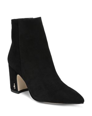 Women'S Hilty Pointed Toe Suede Block High-Heel Ankle Booties in Black