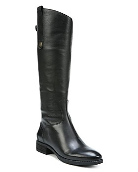 Sam Edelman - Women's Wide Calf Penny Round Toe Leather Low-Heel Riding Boots