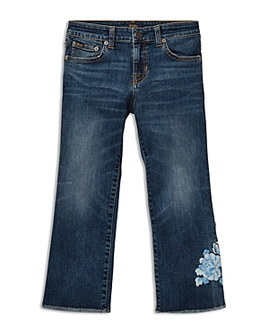 Polo Ralph Lauren Girls' Cropped Flared Embroidered Jeans - Big Kid