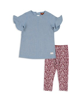 7 For All Mankind - Girls' Ruffled Top & Floral Leggings Set - Baby
