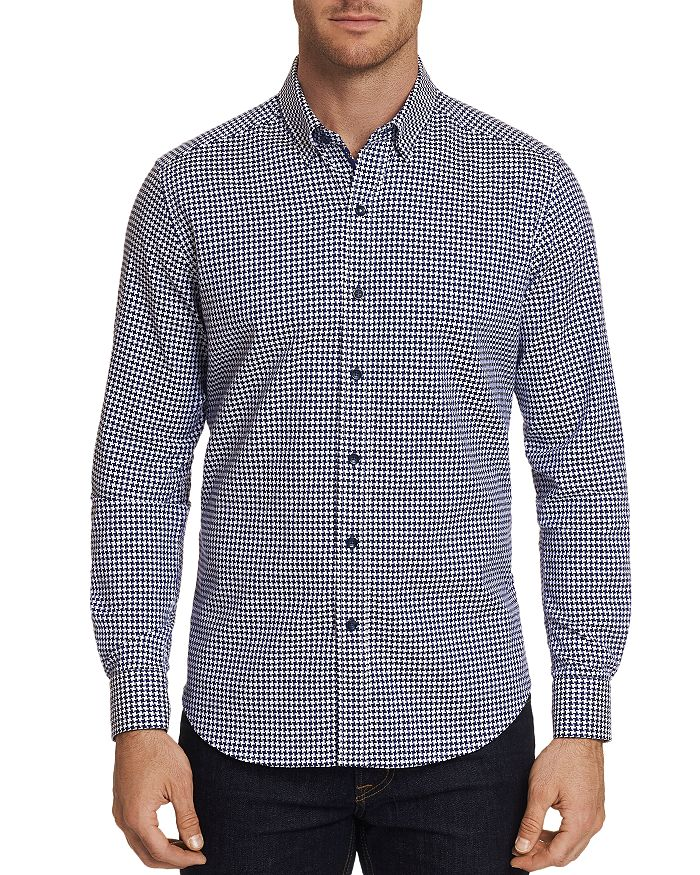 Robert Graham - Canvey Modern Houndstooth-Print Tailored Fit Shirt - 100% Exclusive