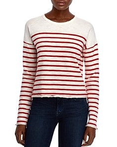 rag & bone/JEAN - Halsey Raw-Edge Striped Tee