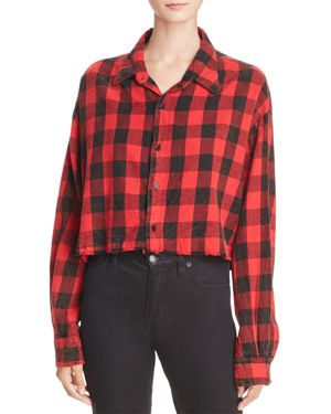 VINTAGE HAVANA Buffalo Plaid Cropped Shirt in Red/Black