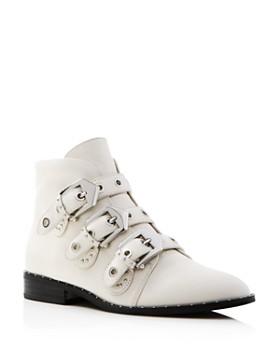 Sol Sana - Women's Maxwell Round Toe Buckle Leather Low-Heel Booties