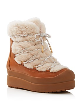 40797f5c0b65 Tory Burch - Women s Courtney Round Toe Leather   Shearling Booties ...