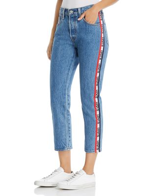 501 Logo Stripe Crop Straight Jeans In Spectator Sport by Levi's