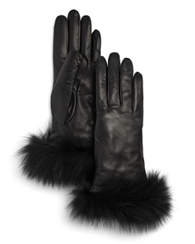 Bloomingdale's - Fox-Fur Trimmed Leather Gloves - 100% Exclusive