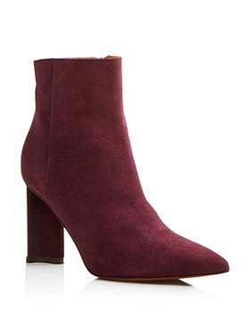 Clergerie - Women's Katia Pointed Toe Suede Block High-Heel Booties