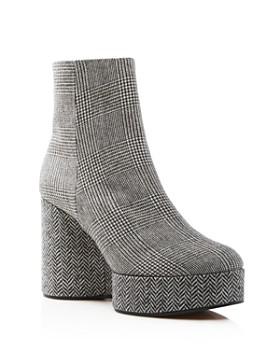 Clergerie - Women's Belent Round Toe Tweed Platform Booties