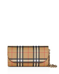 Burberry - Vintage Check and Leather Wallet with Chain
