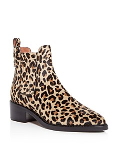 COACH - Women's Bowery Leopard Print Calf Hair Block-Heel Booties