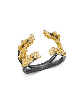 Armenta - 18K Yellow Gold & Blackened Sterling Silver Old World Champagne Diamond Open Crivelli Cluster Ring