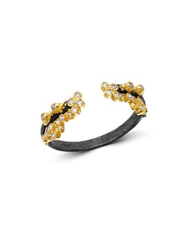 Armenta - 18K Yellow Gold & Blackened Sterling Silver Old World Champagne Diamond Stacking Ring