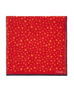 DRAKE'S Stars Pocket Square in Red