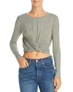 Sadie & Sage - Striped Knotted Cropped Top