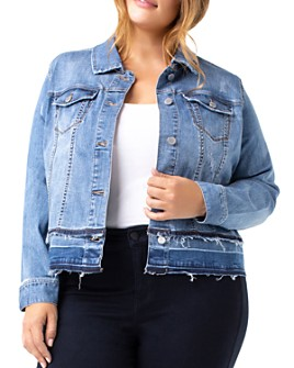 Liverpool Los Angeles Plus - Frayed Double Hem Denim Jacket