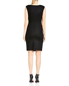 HALSTON HERITAGE - Wool Asymmetric-Neck Sheath Dress